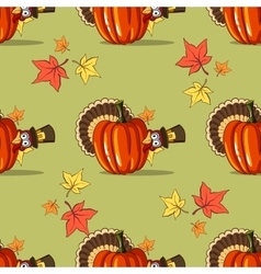 Autumn Seamless Pattern With Turkey vector image