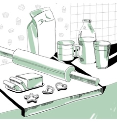 Baking accessories vector