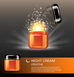 Best night cream products for skin care vector
