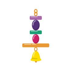 bird hanging toy with bell in flat style vector image
