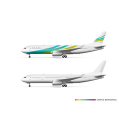 Blank white airplane or airliner side view vector