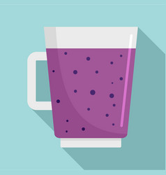 Blueberry smoothie icon flat style vector