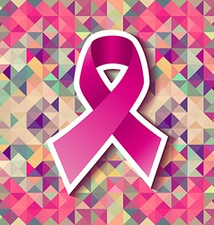 Breast cancer pink ribbon triangle tile pattern vector image