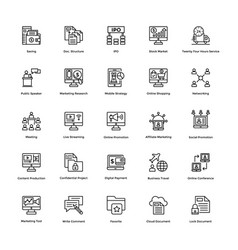 Business and finance line icons 12 vector
