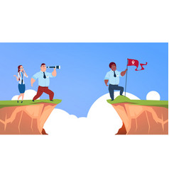 businessman looking straight with binocular on vector image