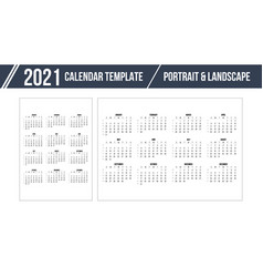 Calendar grid for 2021 year on white background vector