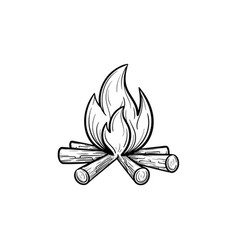 Campfire hand drawn sketch icon vector