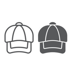 cap line and glyph icon clothing and casual hat vector image
