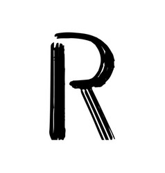 Capital letter r painted by brush vector
