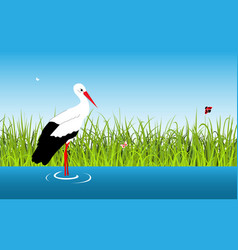cartoon landscape with stork and lake vector image