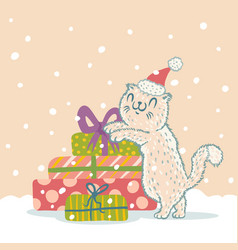 cat in christmas hat vector image