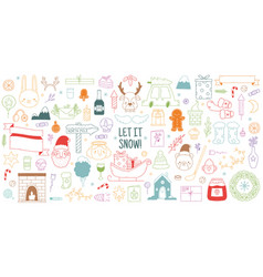 christmas hand drawn doodles cute winter xmas vector image