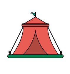 circus tent with flag on top icon image vector image