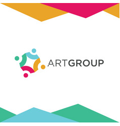 colorful art group logo design vector image