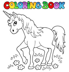 Coloring book unicorn theme 1 vector