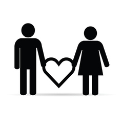 couple holding heart silhouette vector image