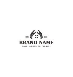 Creative crab logo design and house vector
