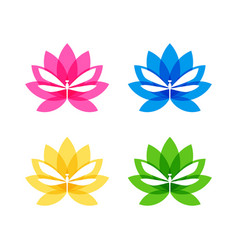cut out dragonfly silhouette on flower icon vector image