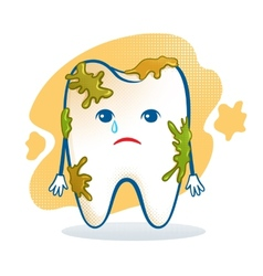 Cute aching tooth character vector