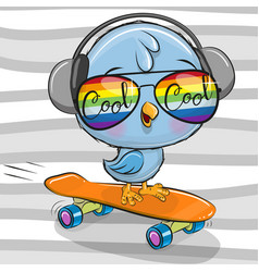 Cute bird with sun glasses on a skateboard vector