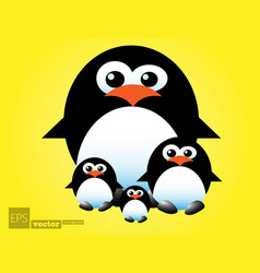 Cute penguin set with penguins in different vector