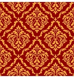 Damask seamless pattern with orange and red colors vector