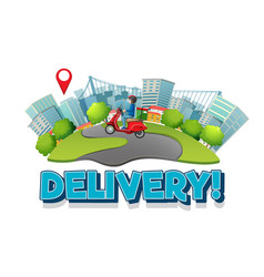 Delivery logo with bike man or courier in city vector