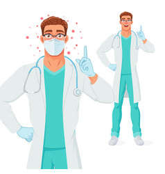 Doctor in mask gloves giving advice vector