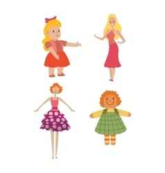 Doll girl toy character vector