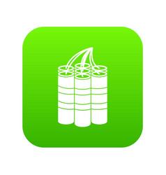 Dynamite sticks icon digital green vector