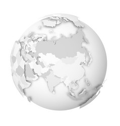 earth globe 3d world map with grey political map vector image