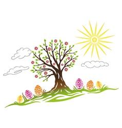 Easter eggs tree vector