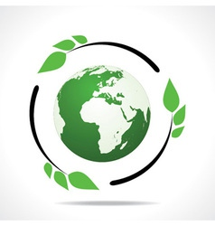 Eco friendly earth with green leaf design vector