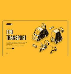 eco transport isometric landing friendly energy vector image