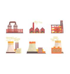 factory buildings set industrial power plants vector image