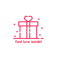 find love inside pink gift box vector image