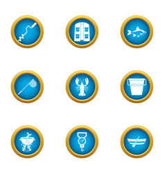 fishing spot icons set flat style vector image