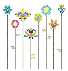 Flowers - folk elements embroidery vector image