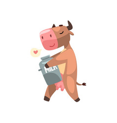 Funny brown cow with can of milk farm animal vector
