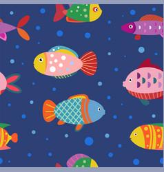 geometric fish pattern seamless pattern vector image
