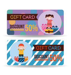 gift card discount kids gift boxes vector image
