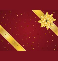 Gold bow ribbon vector