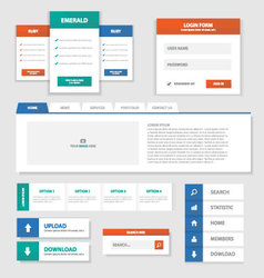 Green Red Blue Multipurpose Website templates set vector