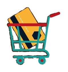 Green shopping cart online credit card bank sketch vector