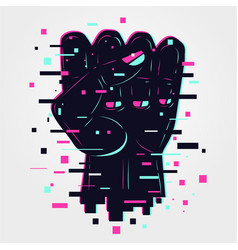 Hand sign human arm power icon glitch style vector