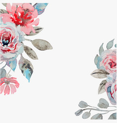 Handmade watercolor background with roses vector
