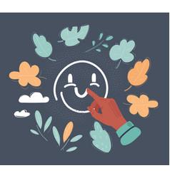 happy face icon drawn on vector image