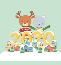 happy new year 2020 celebration cute bear reindeer vector image