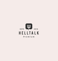 hell talk pitchfork devil logo icon vector image