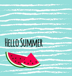 hello summer text with cute colorful watermelon vector image
